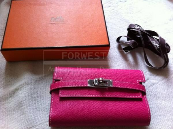 Authentic Hermes Kelly Wallet Moyen Epsom Candy Rose Tyrien rubis