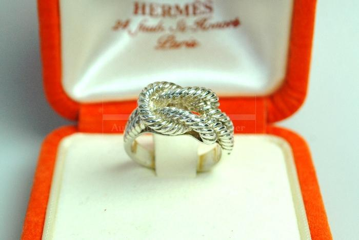 Authentic Hermes Knot Ring Sterling Silver 925 Sz 52 Us 6