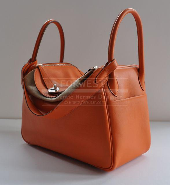Authentic Hermes Lindy 30cm Orange Swift Lindy Palladium