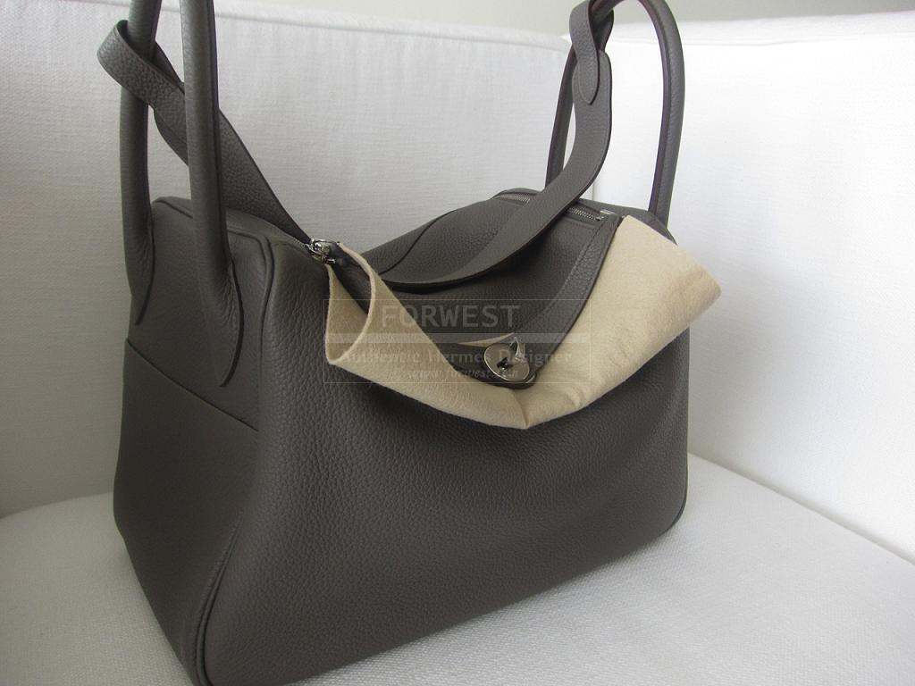 Authentic Hermes Lindy 34cm Etain Clemence Palladium Hardware