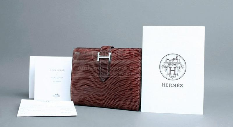 Authentic Hermes Lizard Bearn Wallet