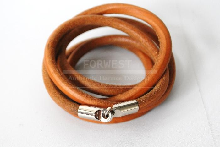 Authentic Hermes Long Brown Leather Bracelet Necklace