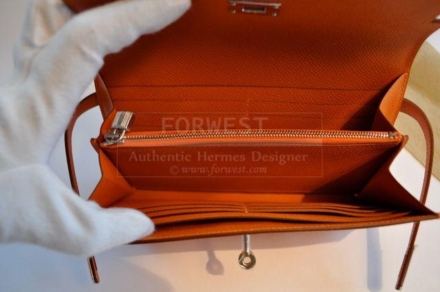 Authentic Hermes Long Wallet Orange Palladium Mysore