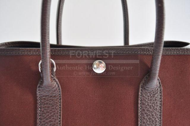 Authentic Hermes Marron Garden Party Bag With Strap 30cm