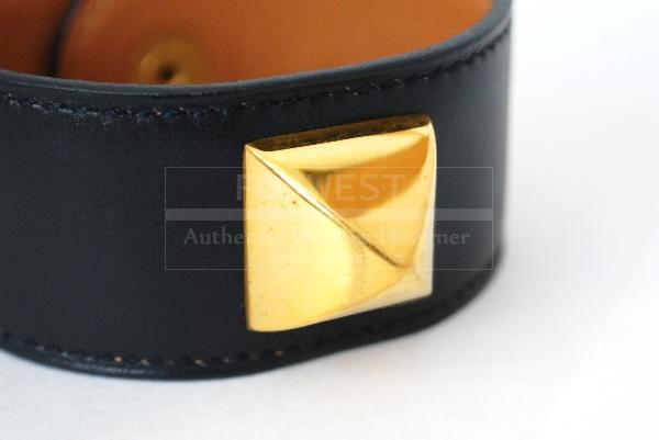 Authentic Hermes Medor Bangle Bracelet Cuff Navy Leather Goldtone