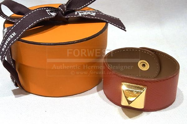 Authentic Hermes Medor Bangle Bracelet Rouge Vif Couchevel Leather