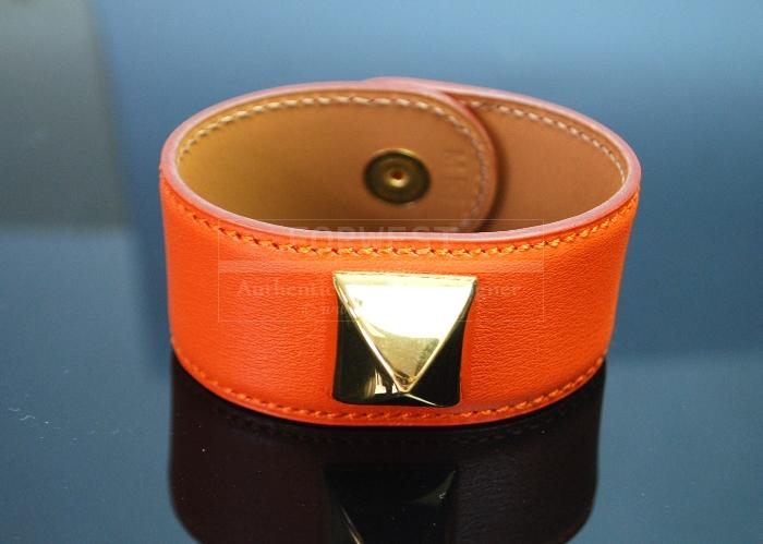 Authentic Hermes Medor Bangle Bracwristelet Cuff Orange Leather