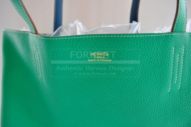 Authentic Hermes Menthe Thalassa Blue Double Sens Carry All Tc