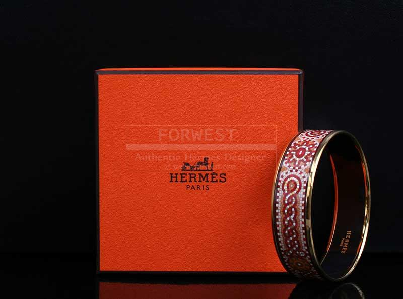 Authentic Hermes Mosaic Enamel Wide Bangle Bracelet