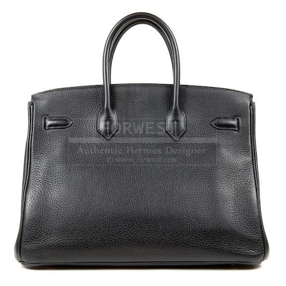 Authentic Hermes Navy Black Leather 35 Cm Birkin