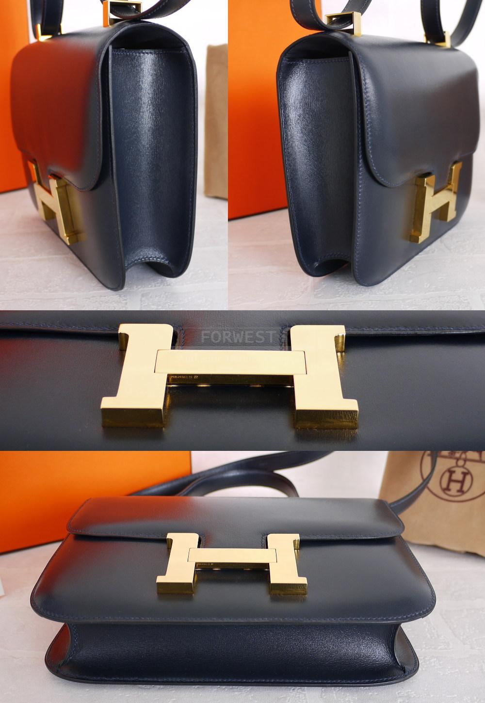 Authentic Hermes Navy Blue Box Calf 23cm Constance Shoulder Bag Mint