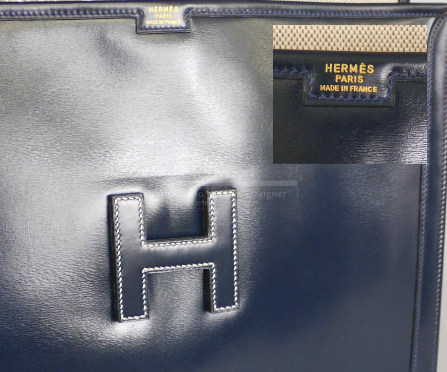Authentic Hermes Navy Blue Box Calf Jige Clutch Bag GM Large