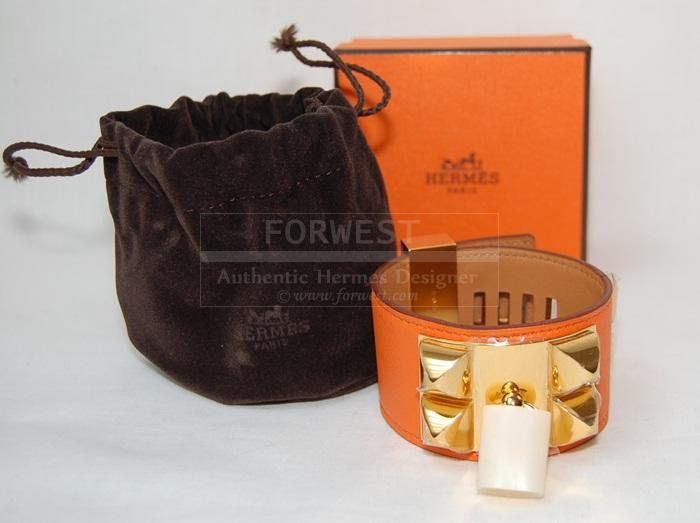 Authentic Hermes Orange C D C Cuff G H W