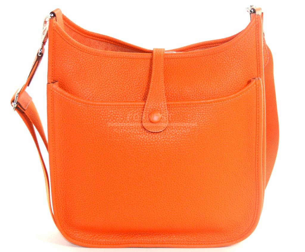 Authentic Hermes Orange Evelyne GM Cross Body Bag-$3995.0000