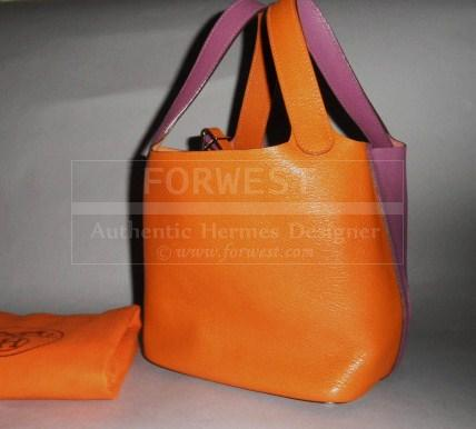 Authentic Hermes Orange Purple Bicolore Chevre Mysore Picotin Bag