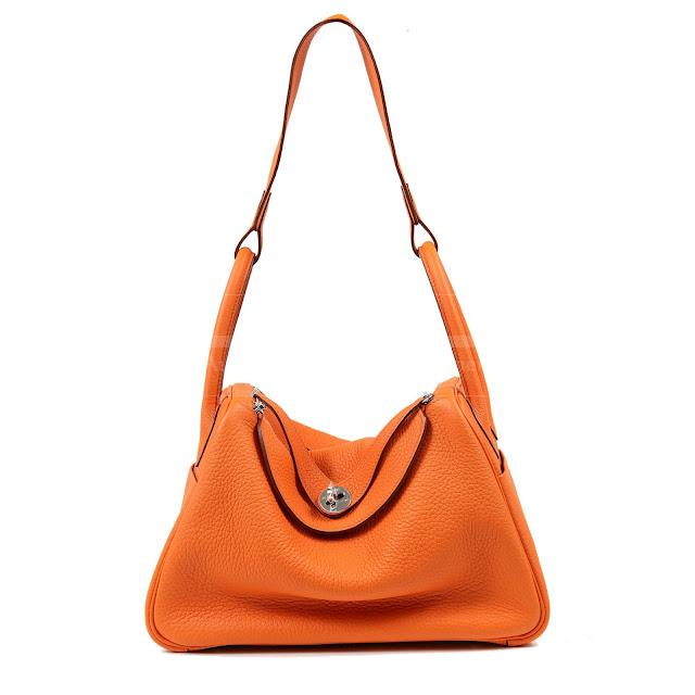 Authentic Hermes Orange Togo Leather 30 Cm Lindy Bag