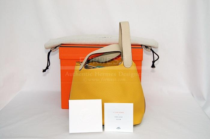 Authentic Hermes Picotin Tpm In Soleil Parchemin P H W