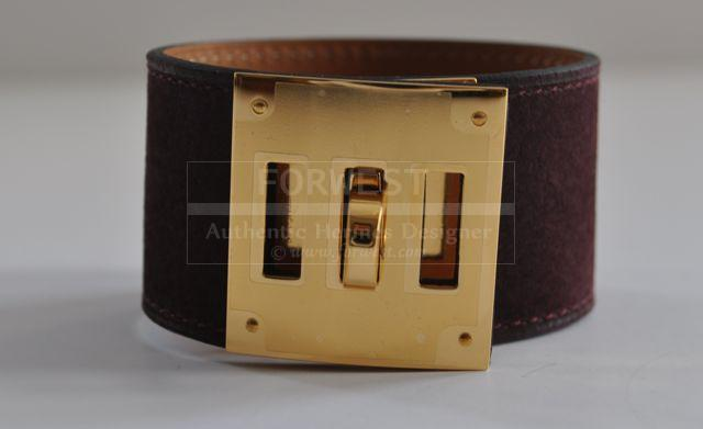 Authentic Hermes Plum Suede Kelly Dog Gold Hardware PM