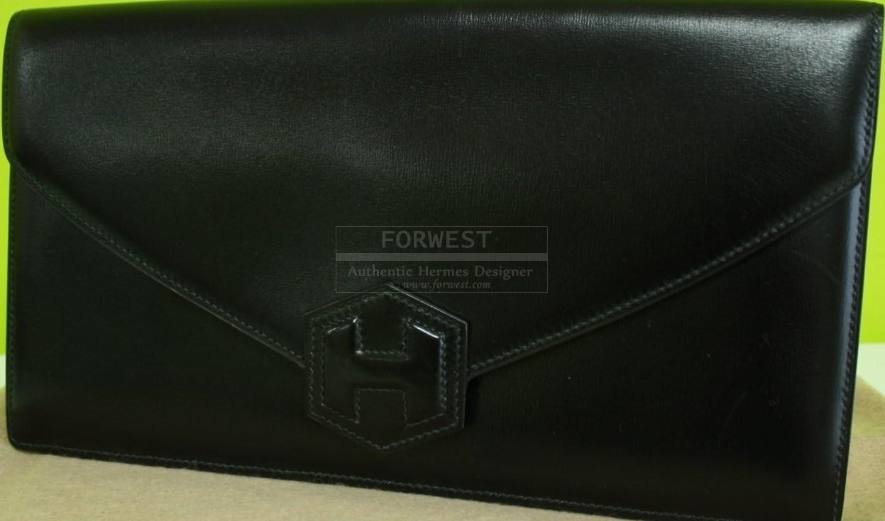 Authentic Hermes Pochette Hexagone Black Box Calf Clutch Rare