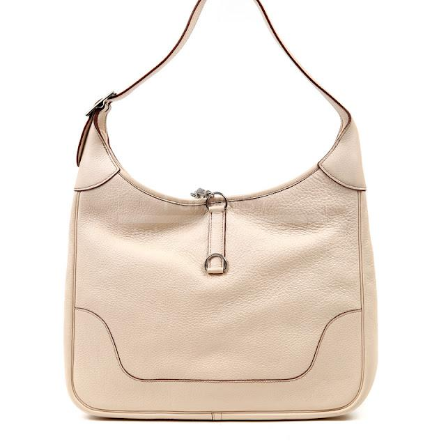 Authentic Hermes Powder Beige 31cm Trim Bag