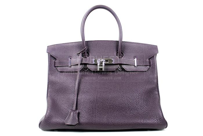 Authentic Hermes Raisin Togo Birkin 35 Cm Bag