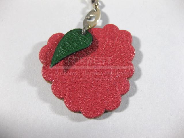 Authentic Hermes Raspberry Leather Silver Key Chain