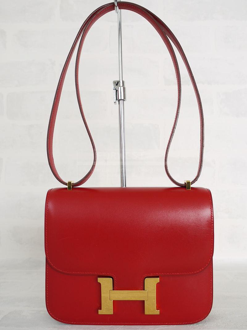 Authentic Hermes Red Box Calf 18cm Constance 7500