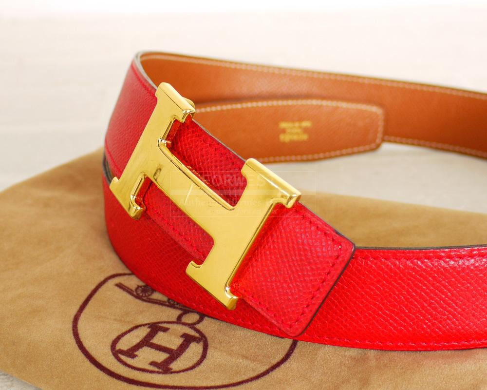 Authentic Hermes Red Brown Courchevel H Logo Reversible Belt 75