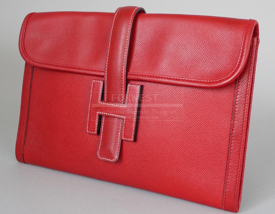 Authentic Hermes Red Couchevel Jige Clutch Bag Vintage W dust Bag