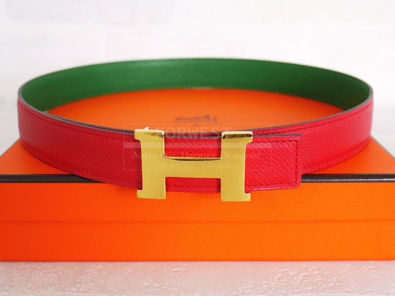 495d2d20ef3a0 ... official loading zoom authentic hermes red green courchevel leather  constance reversible belt 65 larger image 6e840