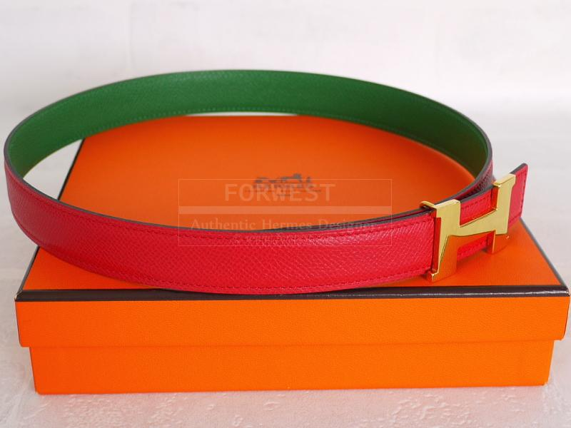 Authentic Hermes Red Green Courchevel Leather Constance Reversible Belt 65