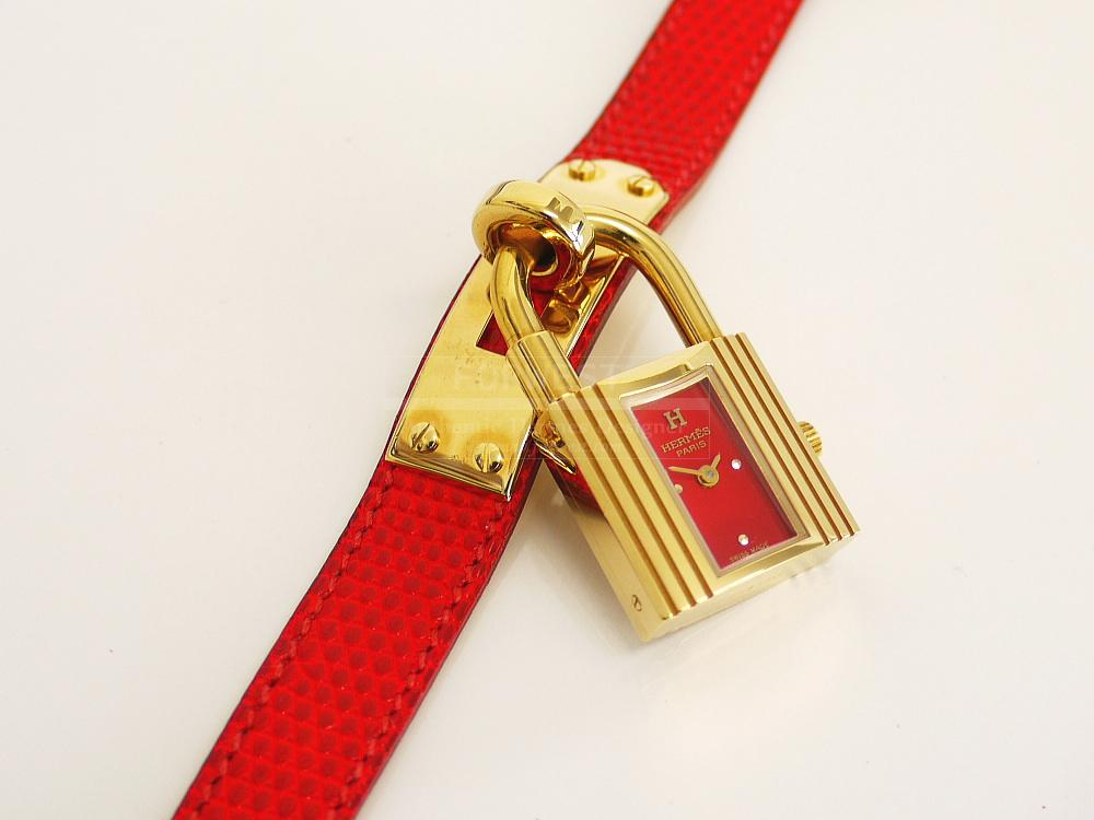 Authentic Hermes Red Lizard Kelly Watch Mint