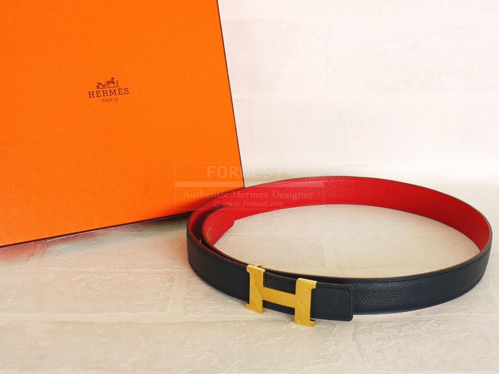 Authentic Hermes Red Navy Courchevel Mini Constance Reversible Belt 70