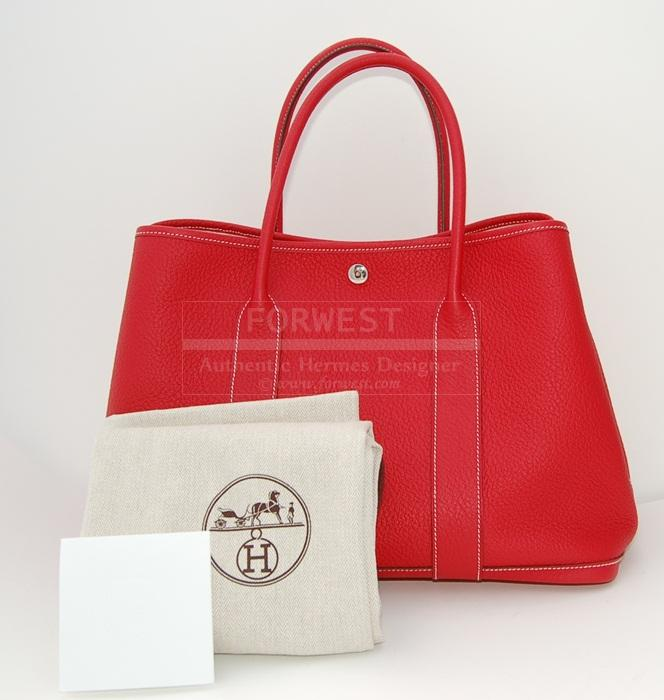 Authentic Hermes Red Rouge Casaque Garden Party MM All Leather