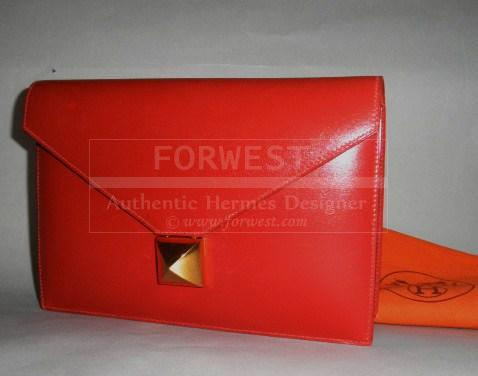 Authentic Hermes Red Vintage Pochette 21 Medor Envelope Clutch