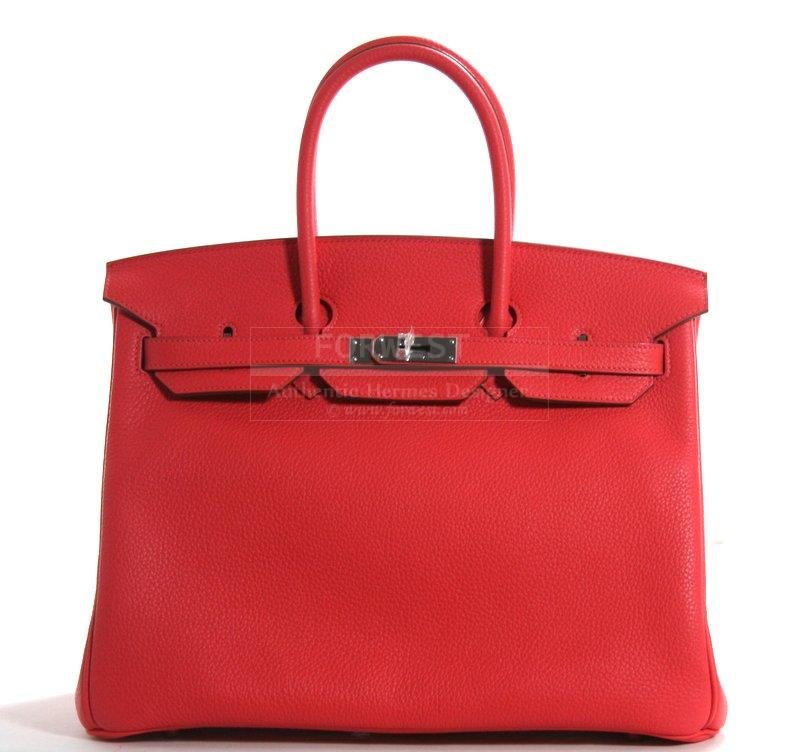 Authentic Hermes Rose Jaipur Clemence Leather 35cm Birkin