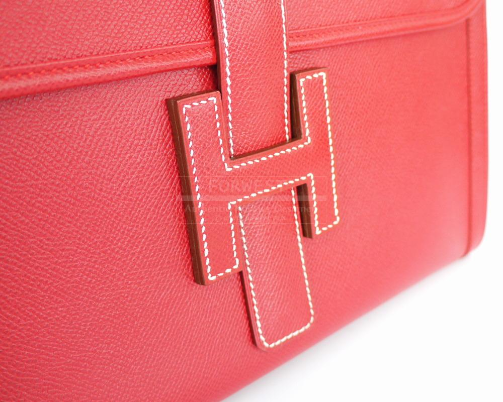 Authentic Hermes Rouge Couchevel Jige Clutch Bag Like New Box