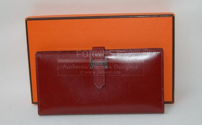 Authentic Hermes Rouge H Box Bearn Wallet P H W