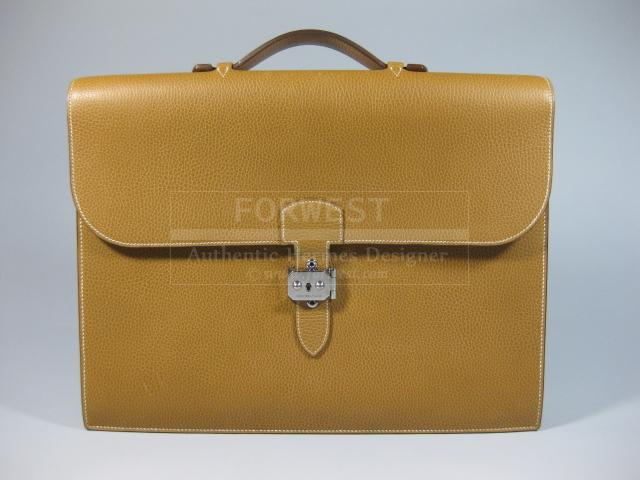 Authentic Hermes Sac A Depeche Leather Document Briefcase