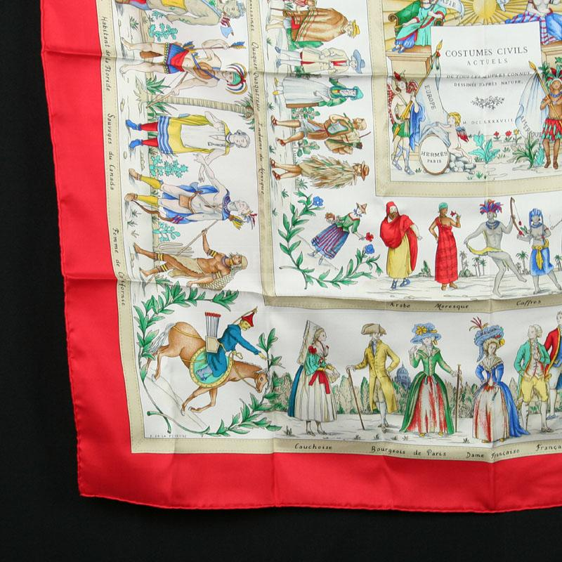 Authentic Hermes Scarf Costumes Civils Actuels Pristine Cond W Box