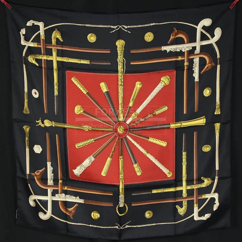 Authentic Hermes Silk Scarf Cannes Et Pommeaux In Excellent Cond