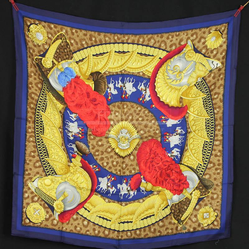 Authentic Hermes Silk Scarf Casques Et Plumets By Julia Abadie