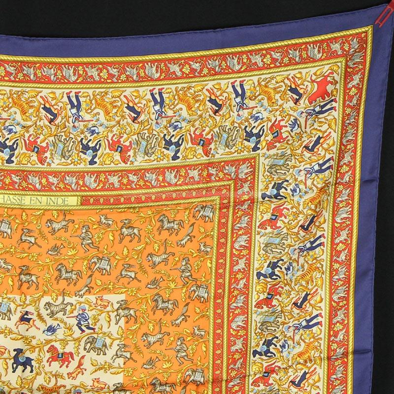 Authentic Hermes Silk Scarf Chasse En Inde In Pristine Cond