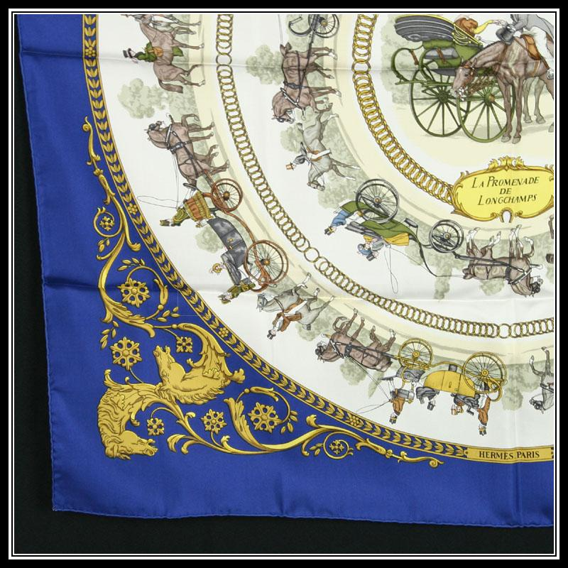 Authentic Hermes Silk Scarf Promenade De Longchamps In Excellent Cond