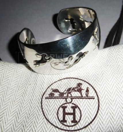 Authentic Hermes Silver 925 Cuff Bounding Bunnies Bracelet