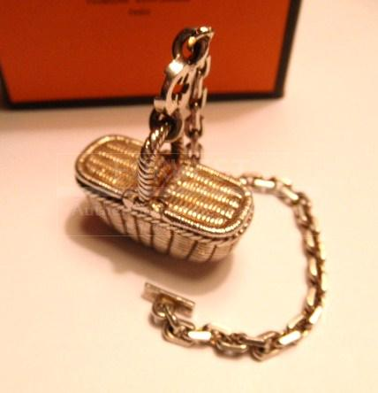 Authentic Hermes Silver Purse Charm French Country Picnic Basket
