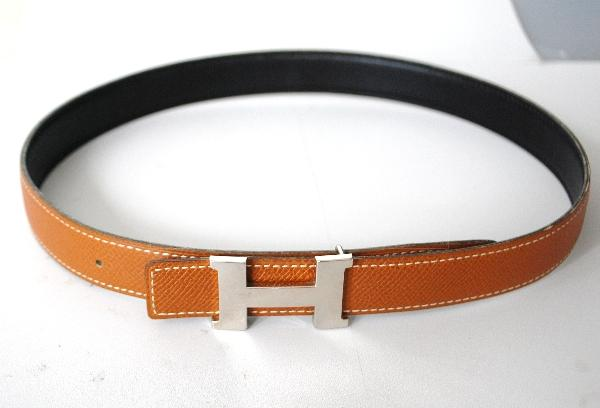 Authentic Hermes Silvertone H Buckle Belt 65 Reversible Leather