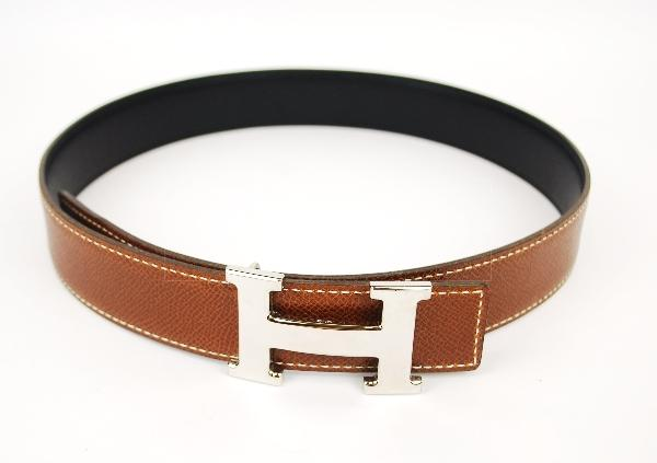Authentic Hermes Silvertone H Buckle Belt 68 Reversible Leather