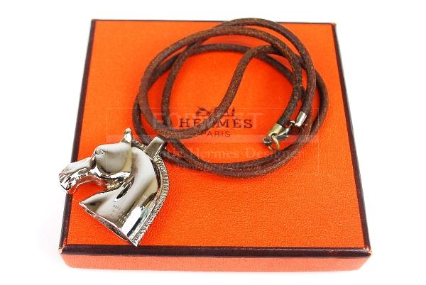 Authentic Hermes Silvertone Horse Head Pendant Leather Necklace