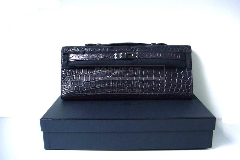 Authentic Hermes So Black Kelly Cut Crocodile Mat Niloticus Cites